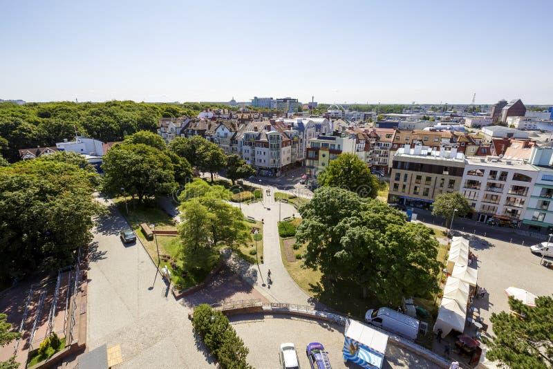 Panorama da cidade Kolobrzeg no Polônia fotos de stock