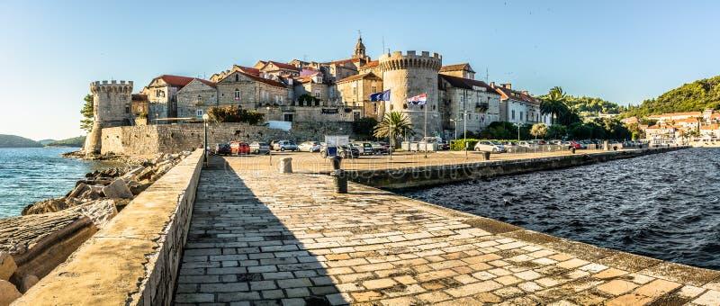 Panorama da cidade Korcula, Croácia foto de stock