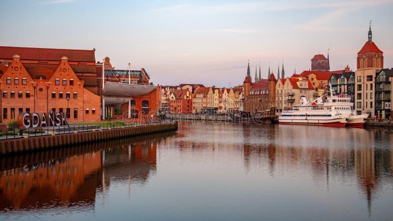 Panorama da cidade velha em Gdansk, Pol?nia fotos de stock royalty free