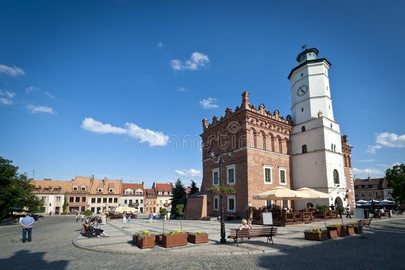 Panorama da cidade velha em Sandomierz, Poland imagem de stock