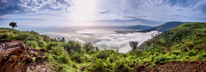 Panorama da cratera de Ngorongoro, Tanzânia, East Africa foto de stock