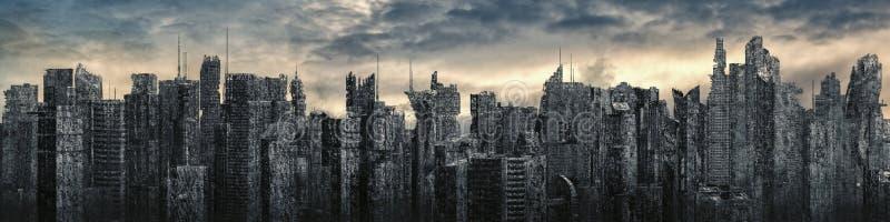 Panorama da distopia da cidade da ficção científica ilustração royalty free