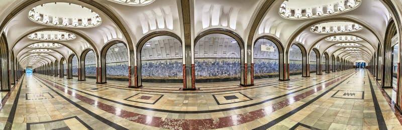 Panorama da estação de metro de Mayakovskaya em Moscou imagens de stock royalty free