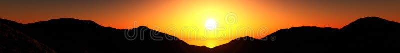 Panorama da ideia do por do sol da montanha do nascer do sol sobre as montanhas, a luz sobre as montanhas, fotografia de stock