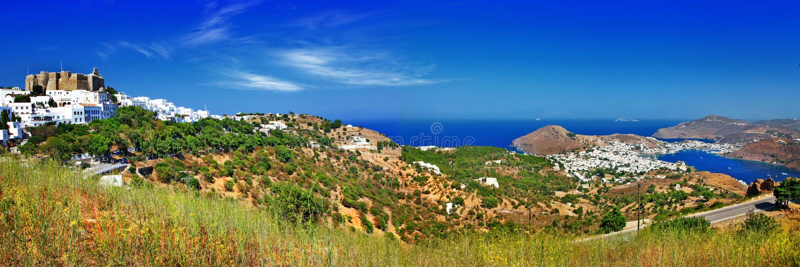 Panorama da ilha cênico de Patmos. imagem de stock royalty free
