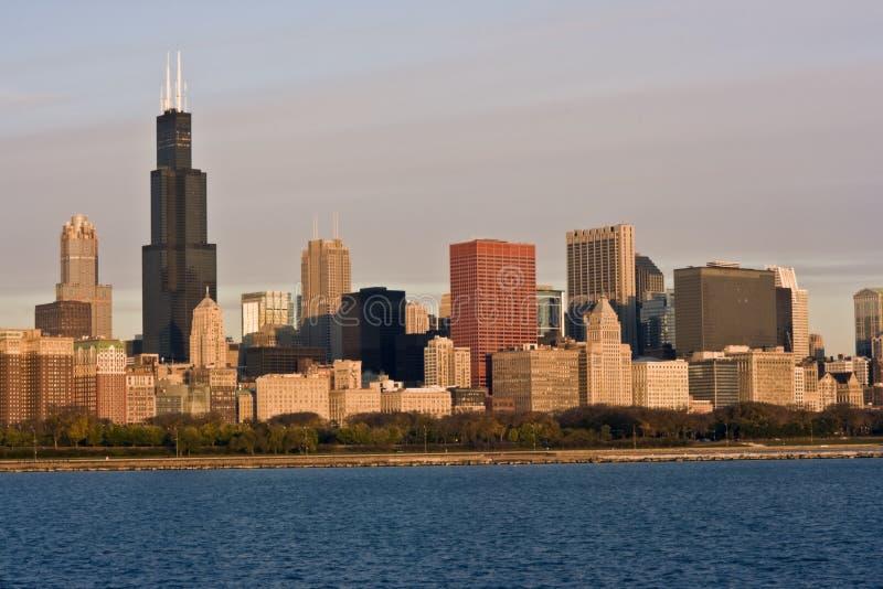 Panorama da manhã de Chicago imagens de stock
