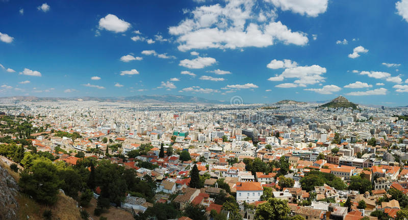 Panorama da megalópole de Atenas, Greece fotografia de stock