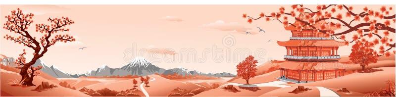 Panorama da natureza, do palácio de Ásia, do vulcão, das montanhas, dos rios, e dos montes com árvores As flores de Sakura ilustração royalty free