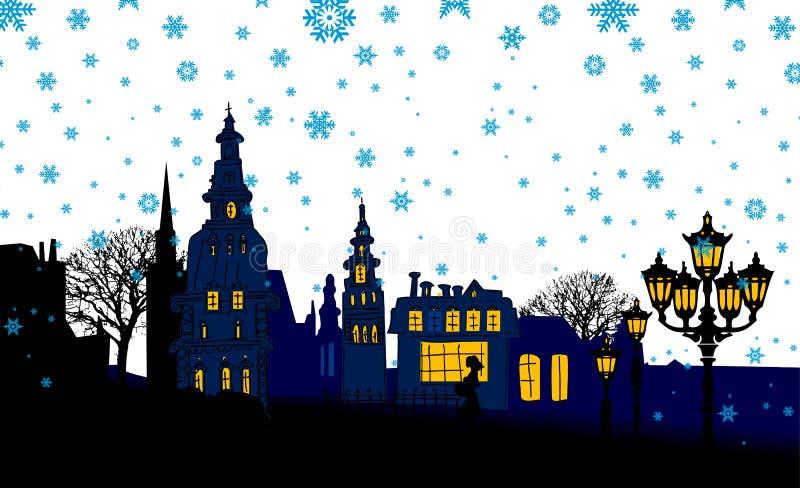 Panorama da noite da cidade. Neve. ilustração royalty free