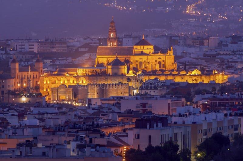 Panorama da noite de Córdova com catedral da mesquita foto de stock royalty free