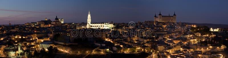 Panorama da noite de Toledo foto de stock
