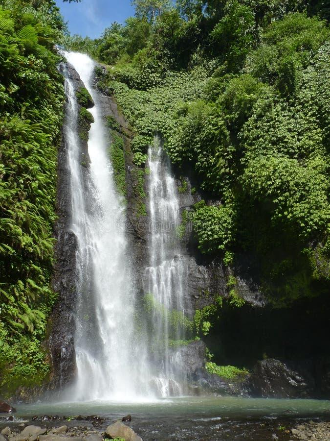 Panorama da paisagem da opinião da cachoeira de Bali, cachoeira de Sekumpul Ilha de Bali foto de stock royalty free