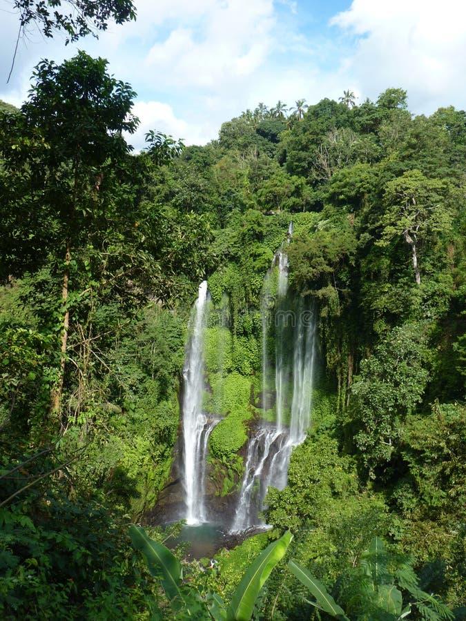 Panorama da paisagem da opinião da cachoeira de Bali, cachoeira de Sekumpul Ilha de Bali imagem de stock royalty free