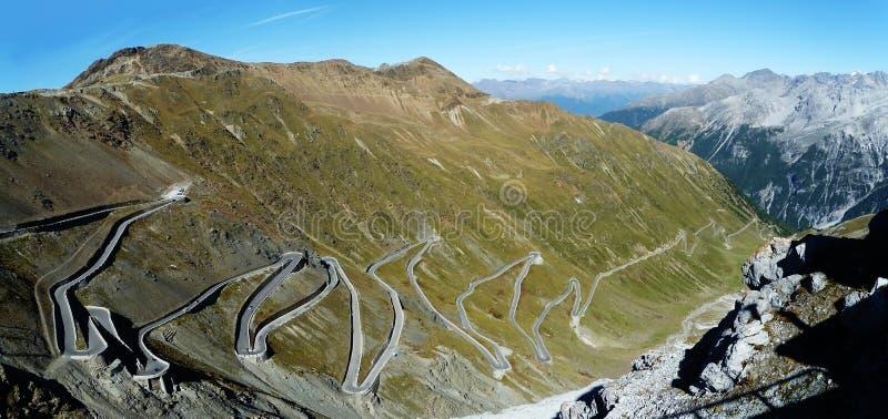 Panorama da passagem de Stelvio, Italy fotografia de stock royalty free