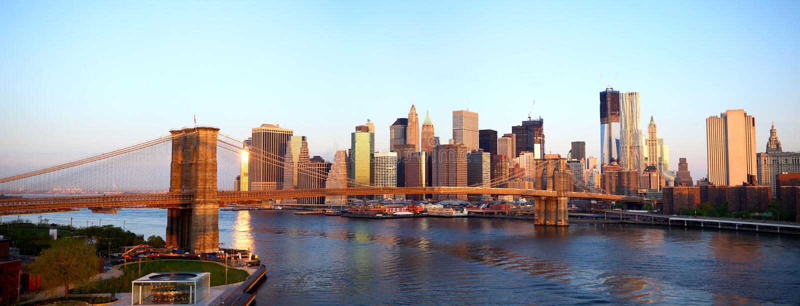 Panorama da ponte de Brooklyn foto de stock royalty free