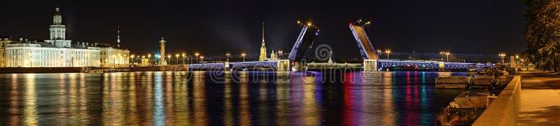 Panorama da ponte divorciada do palácio em St Petersburg imagem de stock royalty free