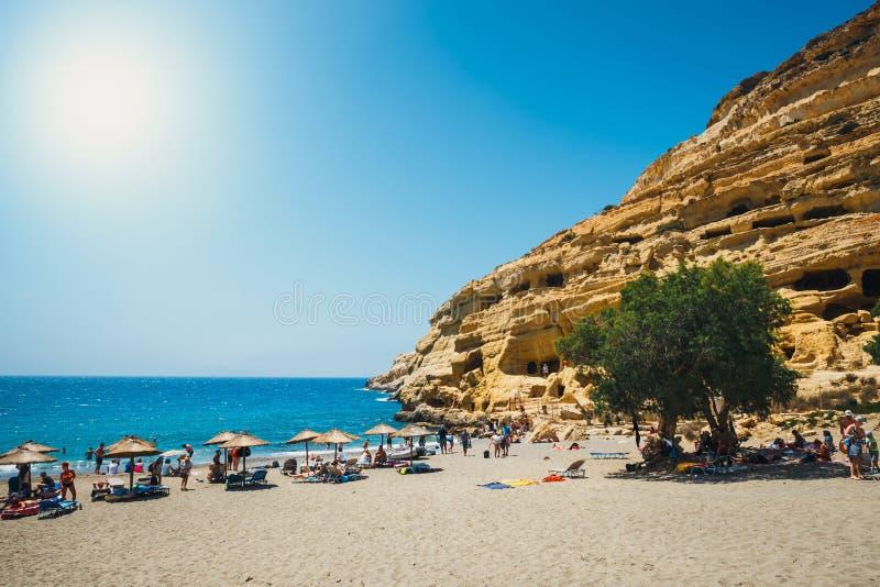 Panorama da praia de Matala foto de stock royalty free