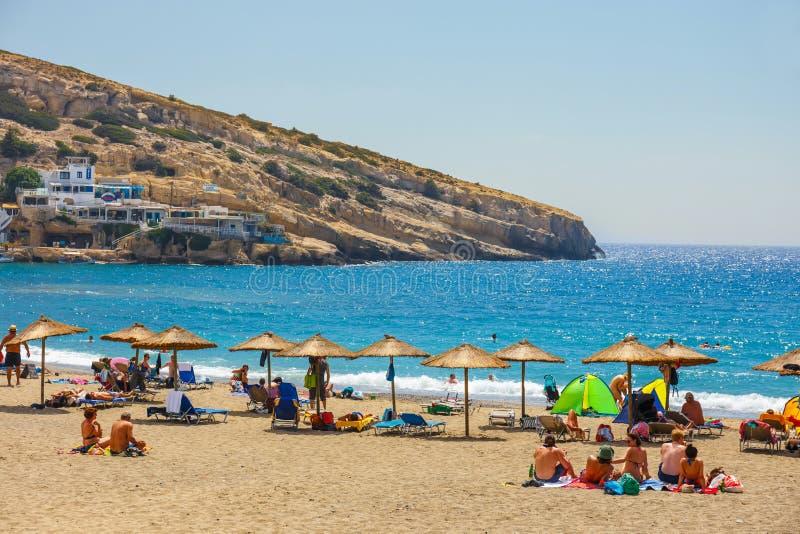 Panorama da praia de Matala imagens de stock