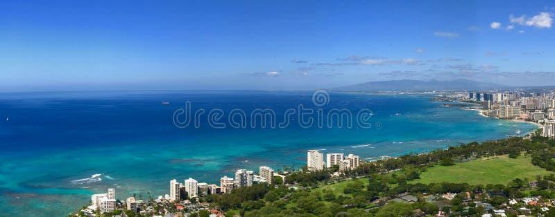 Panorama da praia de Waikiki, Havaí foto de stock