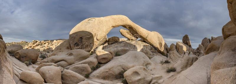 Panorama da rocha do arco em Joshua Tree imagem de stock royalty free