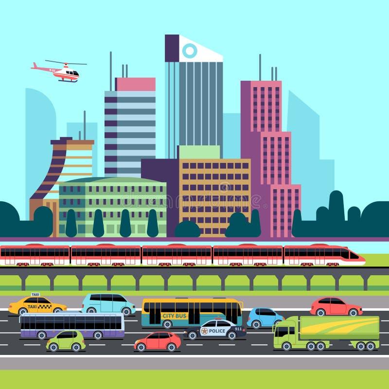 Panorama da rua da cidade Rua com carros e casas de transporte urbano Arranha-céus da arquitetura da cidade e fundo urbanos do tr ilustração stock