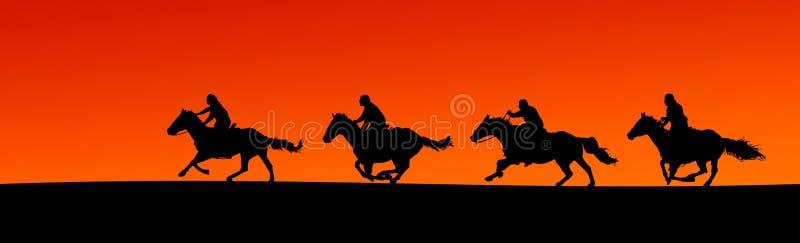 Panorama da silhueta dos cavaleiro (trajetos de grampeamento) ilustração stock