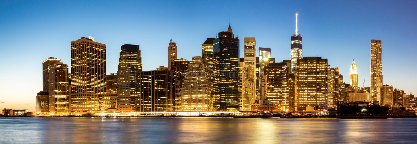 Panorama da skyline de New York City Manhattan fotos de stock royalty free