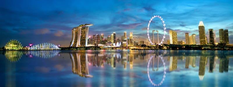Panorama da skyline de Singapura foto de stock