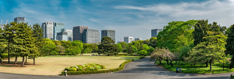 Panorama da skyline nos jardins do leste do palácio imperial, Japão do Tóquio foto de stock