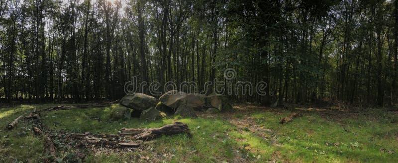 Panorama da un vecchio dolmen grave di pietra fotografia stock