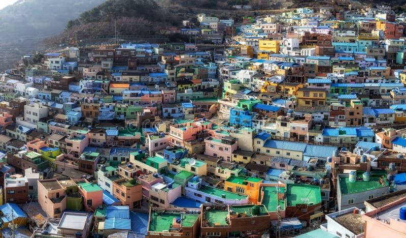 Panorama da vila da cultura do gamcheon de Busan imagens de stock