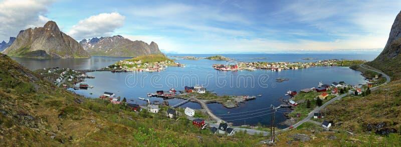 Panorama da vila em Noruega fotografia de stock