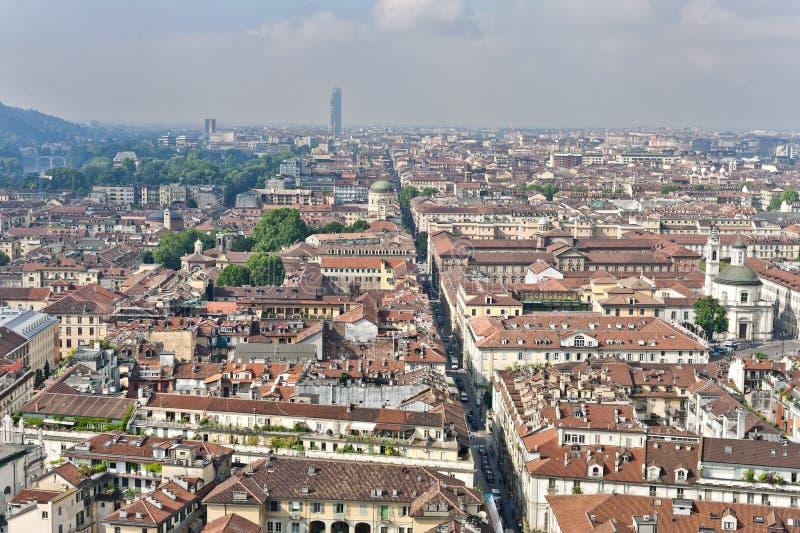 Panorama dalla talpa Antonelliana, Torino, Italia fotografia stock libera da diritti