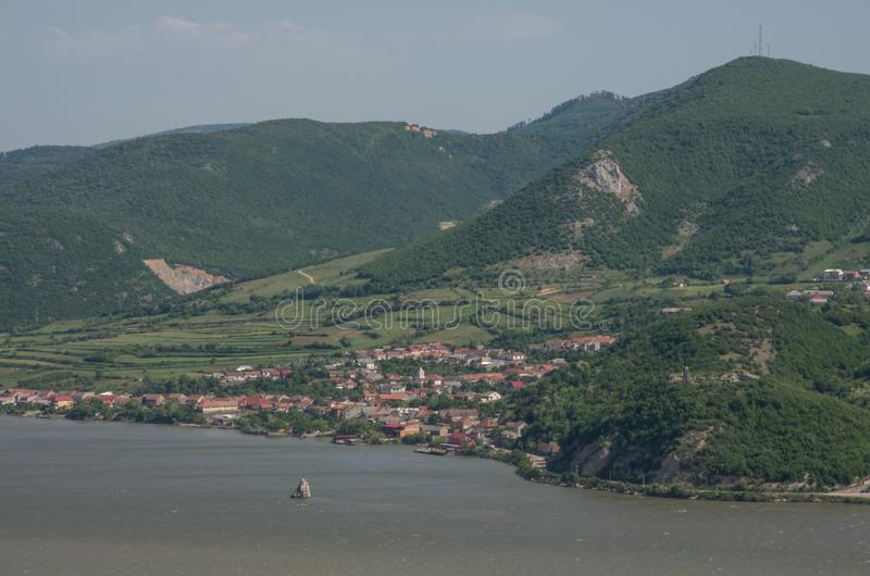 Panorama of Danube river on border between Serbia and Romania, w royalty free stock photos