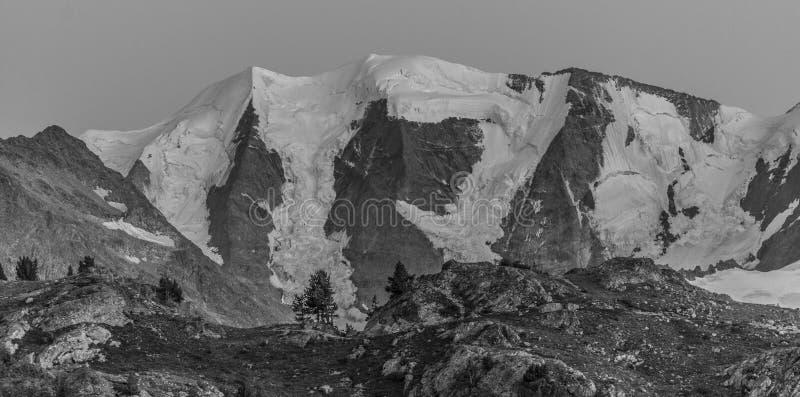 Panorama das montanhas altas preto e branco fotos de stock royalty free
