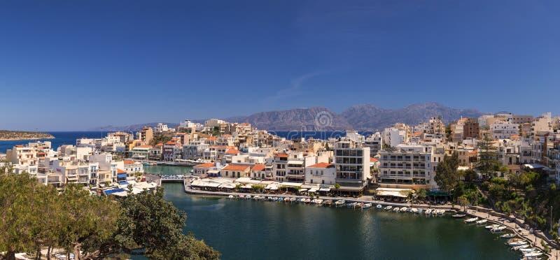 Panorama de Agios Nikolaos fotos de archivo libres de regalías