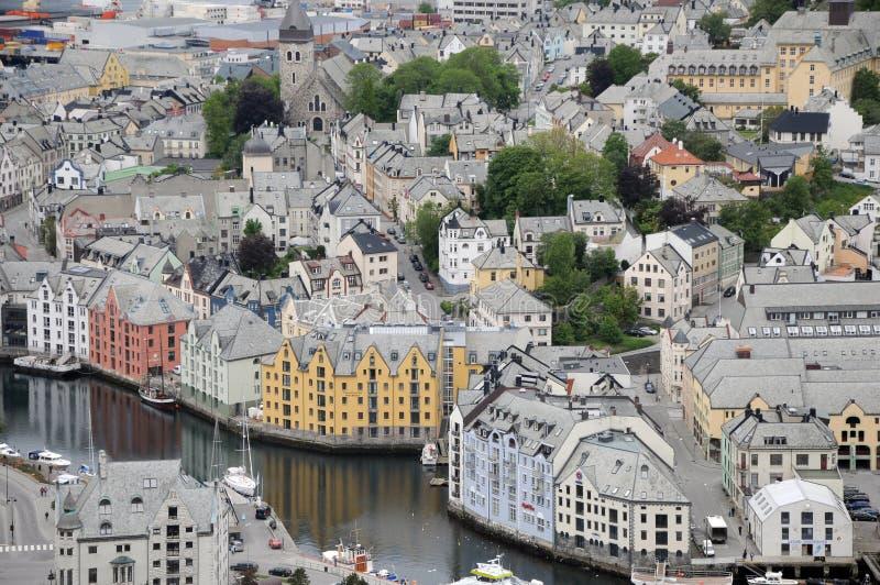 Panorama de Alesund, Noruega foto de stock