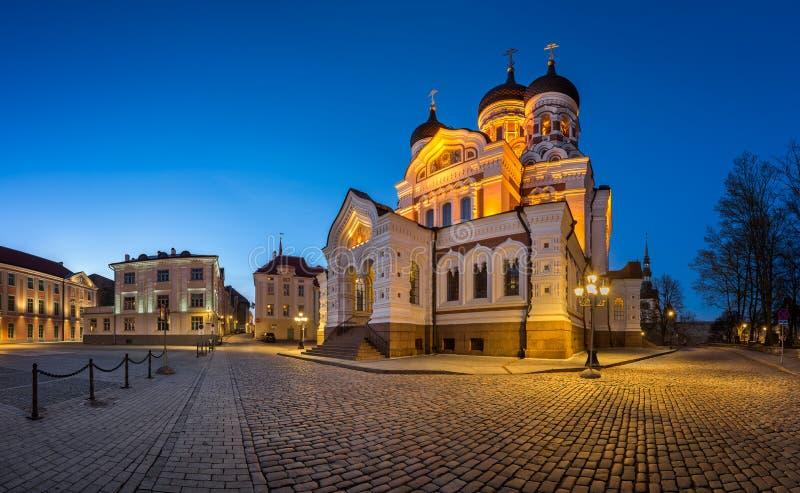 Panorama de Alexander Nevsky Cathedral na noite, Tallinn imagem de stock royalty free