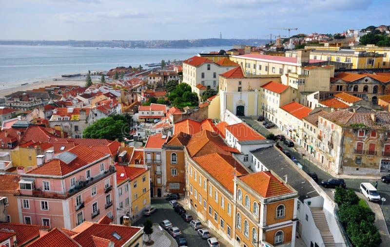 Panorama de Alfama, Lisboa foto de archivo