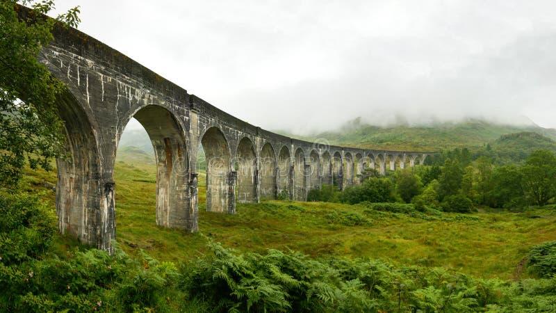 Panorama de alta resolução do viaduto da estrada de ferro de Glenfinnan fotografia de stock royalty free