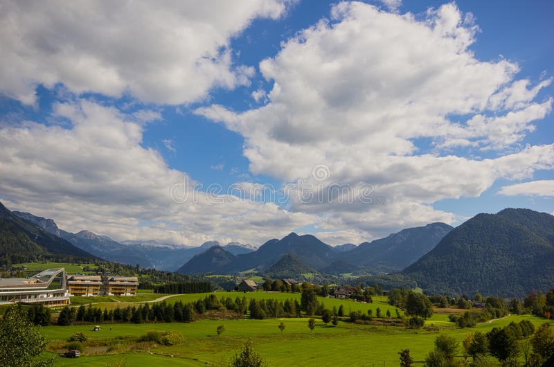 Panorama de Altaussee, Áustria foto de stock