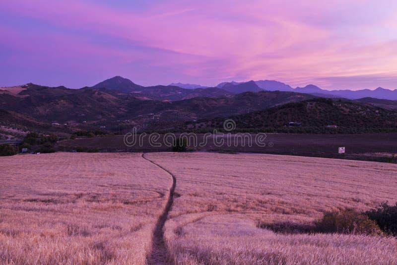 Panorama de Andalucía en la puesta del sol imagenes de archivo