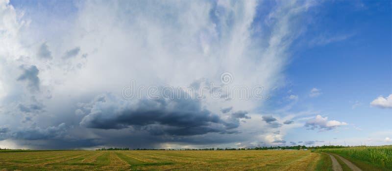 Panorama de Autumn Field hermoso debajo del cielo tempestuoso imágenes de archivo libres de regalías