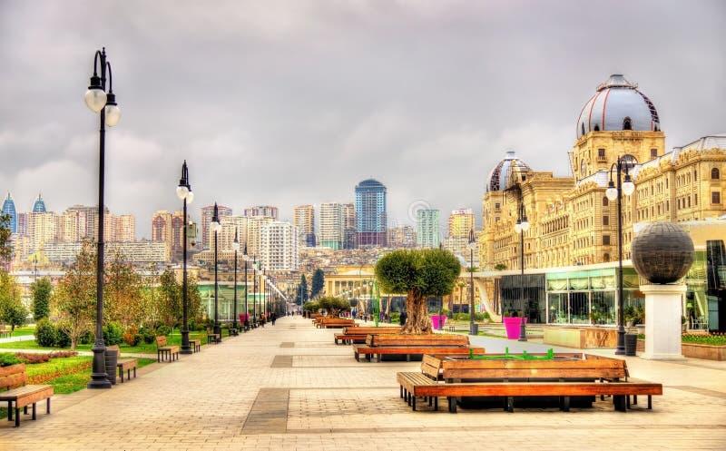 Panorama de Bakou de parc d'hiver photos stock