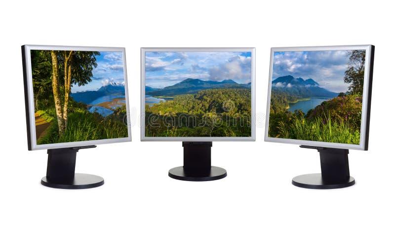 Panorama de Bali Indonesia mi foto en los monitores de computadora fotografía de archivo