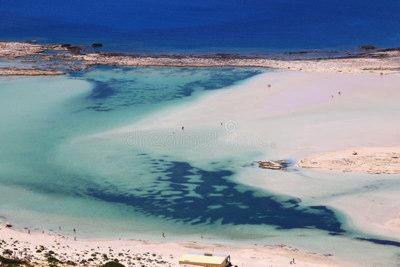 Panorama de balos da ilha, dia ensolarado da praia neve-branca bonita foto de stock royalty free