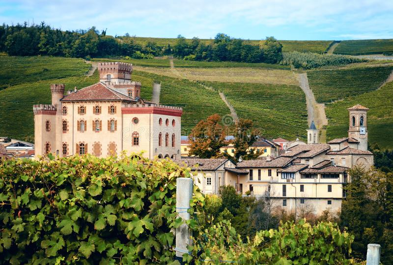 Panorama de Barolo piedmont, Itália fotografia de stock royalty free