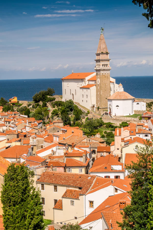 Panorama de beau Piran, Slovénie photos stock