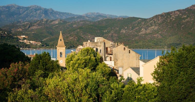 Panorama de beaux ville de Florent de saint et port, Corse photos stock