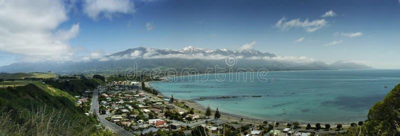 Panorama de bord de la mer de Kaikoura photo stock